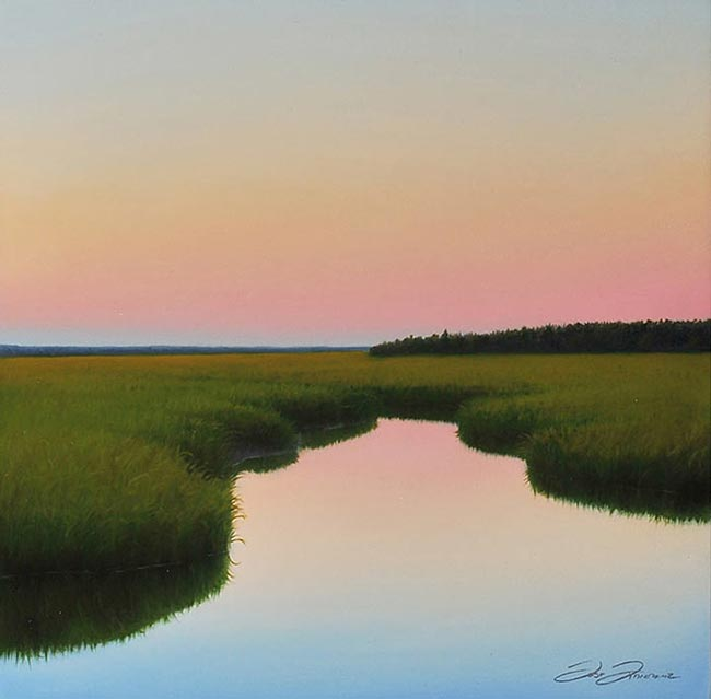 Evening In Cape Cod, A Beautiful Marsh Painting Of Chase